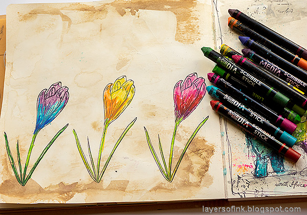 Layers of ink - Colorful Floral Crocus Tutorial by Anna-Karin Evaldsson. Color with Scribble Sticks.