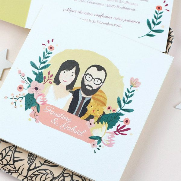 wedding invitation featuring couple's illustrated color portrait
