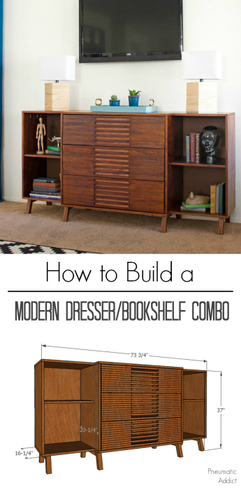 How To Build A Mid Century Modern Dresser With Bookshelves