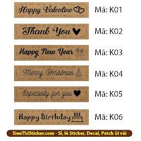 tem giấy kraft thank you, happy new year