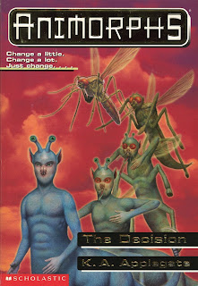 A blue centaur-like alien (Aximili) turns into a mosquito