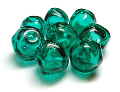Lampwork glass hollow nugget beads
