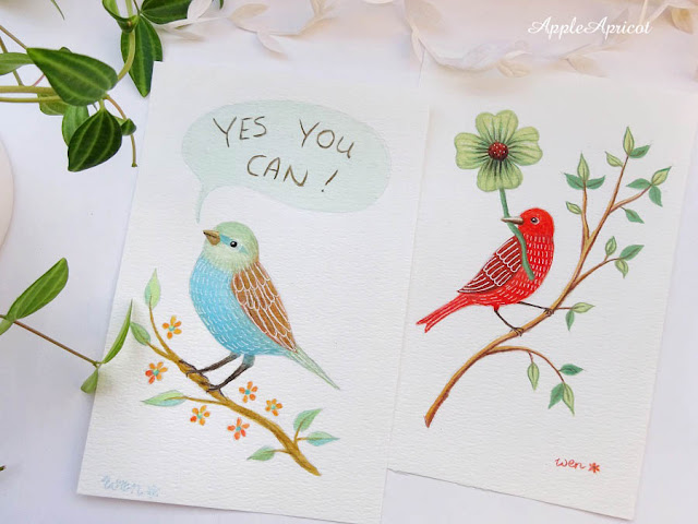 bird paintings in gouache by AppleApricot Wen
