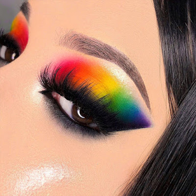 Maquillaje arcoiris - Tonos cálidos y fríos