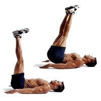 Abdominales extensión piernas hombre rutina pesas