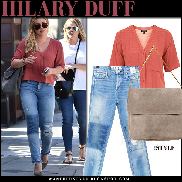 Hilary Duffin brick red topshop shirt, ripped amo babe jeans and suede pumps gianvito rossi what she wore