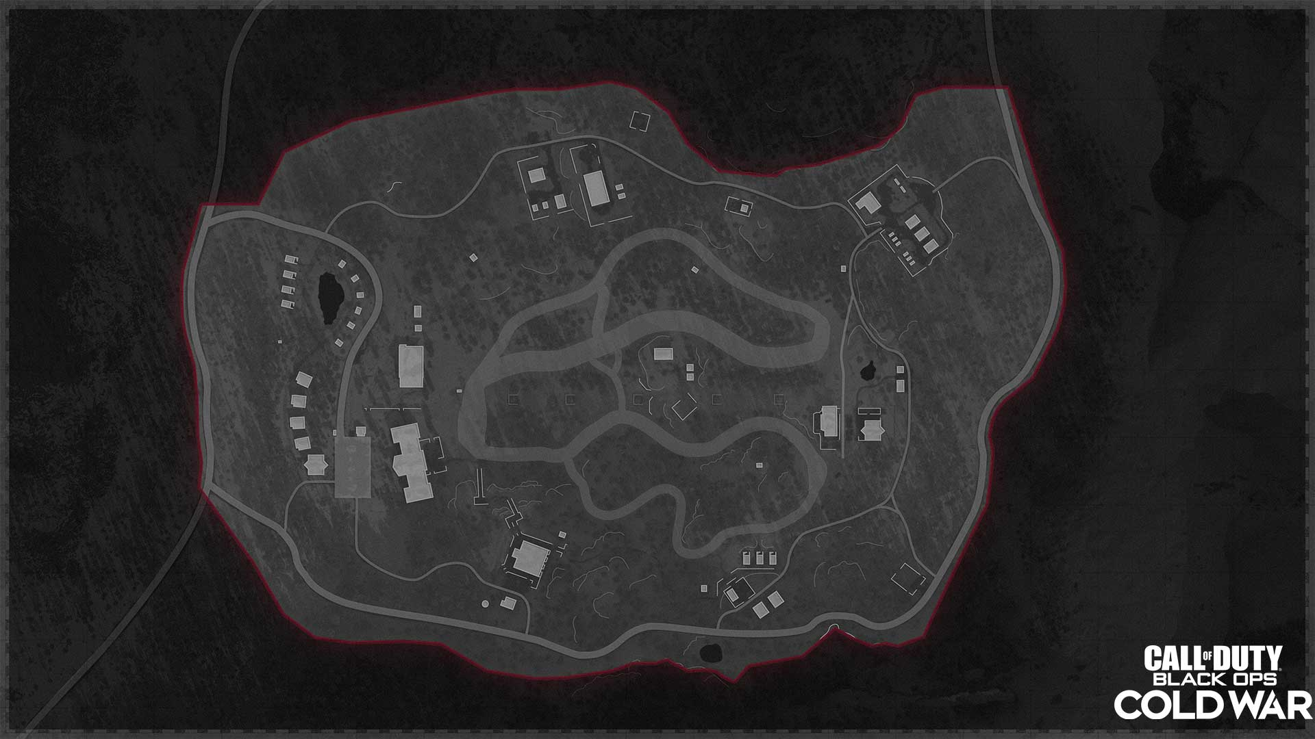 Most of the buildings are in the north (left on this map).