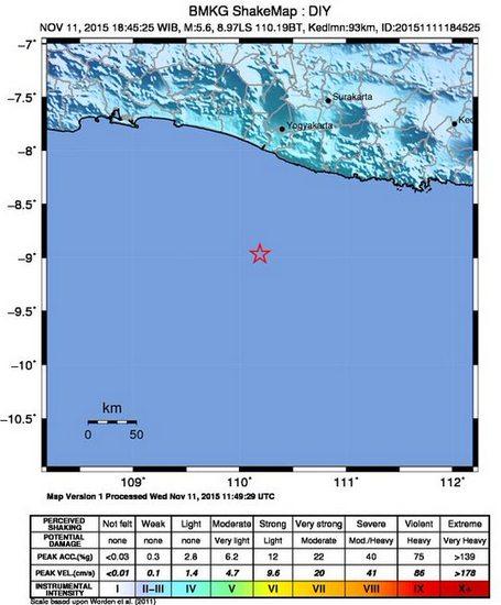 Gempa Bumi Berkekuatan 5,6 SR  Mengguncang Bantul Yogyakarta pada Hari Rabu 11 November 2015 pukul 16.46 WIB
