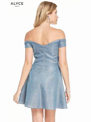 off the soulder alyce paris short prom dress santorini Blue color Back Side