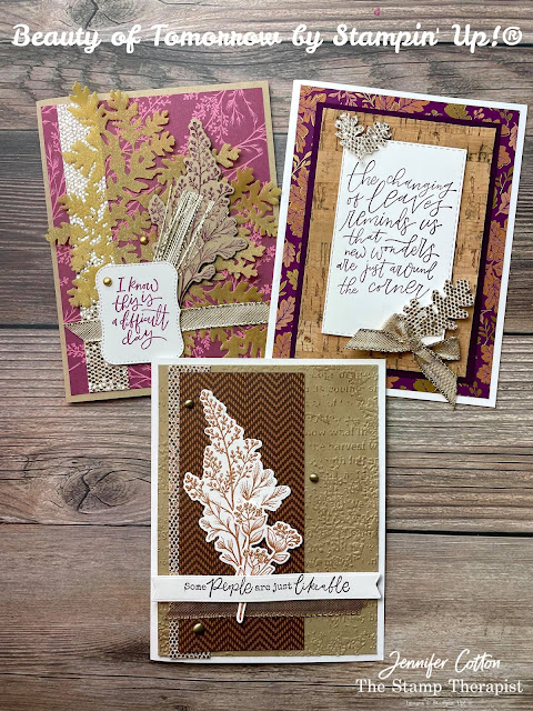 Stampin' Up!'s Beauty of Tomorrow Bundle, Gold 12x12 Shimmer Vellum, Blackberry Beauty 12x12 Specialty Designer Series Paper (DSP), Brushed Metallic Adhesive Backed Dots; Gold Shimmer Ribbon.  #StampTherapist #StampinUp #BeautyofTomorrow