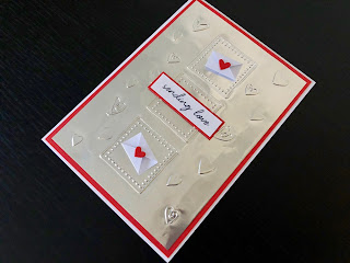 Embossed Foil Valentine Card with Miniature Envelopes and Die Cut Hearts