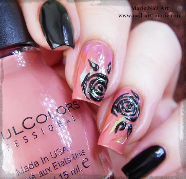 nail art roses noires en gel et glass nails2