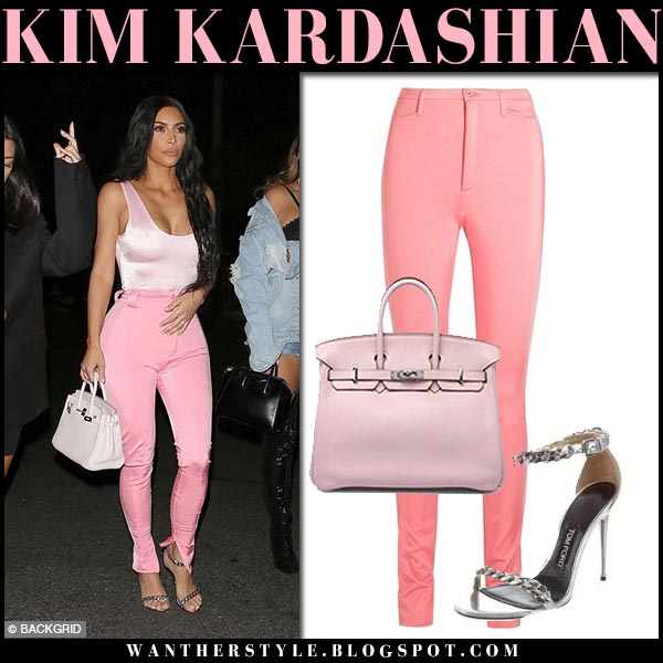 Kim Kardashian in pink top and pink skinny pants balenciaga night out style september 23