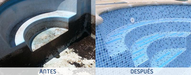 Renovación de piscinas con lámina armada en Guadalajara. Detalle de renovación de la escalera de la piscina - Espool Piscinas, Guadalajara – info@espoolpiscinas.es