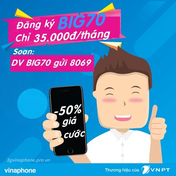 Vinaphone khuyến mãi đăng ký gói BIG70 chỉ với 35.000đ