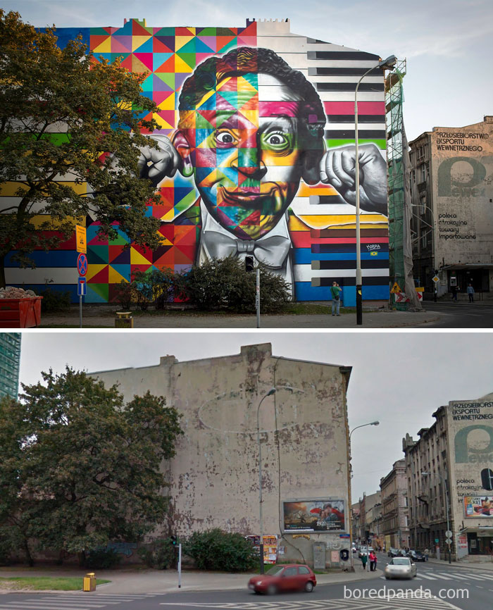 10+ Incredible Before & After Street Art Transformations That'll Make You Say Wow - Arthur Rubinstein, Lotz, Poland