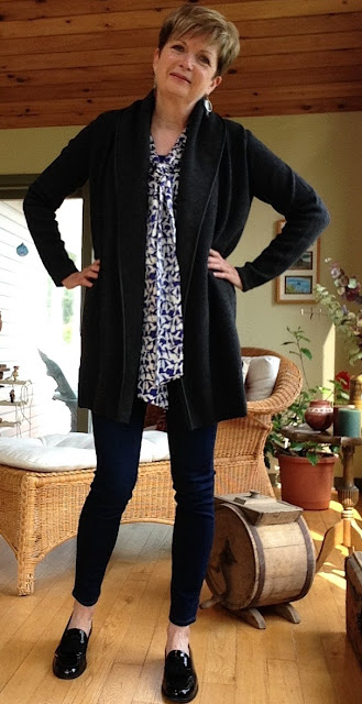 Grey Vince coat sweater, purple Tory Burch pussy bow blouse, Paige high-rise skinny jeans, black Stuart Weitzman loafers