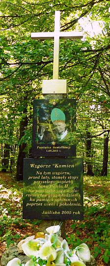 Krzyż poświęcony papieżowi Janowi Pawłowi II na szczycie Kamienia nad Jaśliskami.