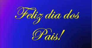 A imagem de fundo azul e caracteres amarelos diz:feliz dia dos pais!
