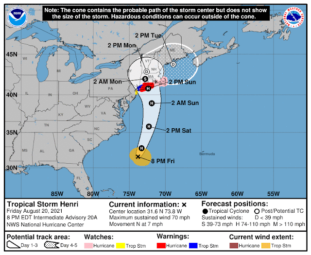 National Hurricane Center's 5-day track and intensity forecast cone of Atlantic AL082021 Tropical Storm Henri.