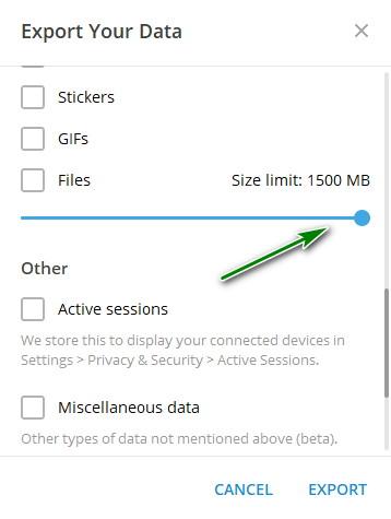 Pengaturan Ukuran Ekspor Data Chat