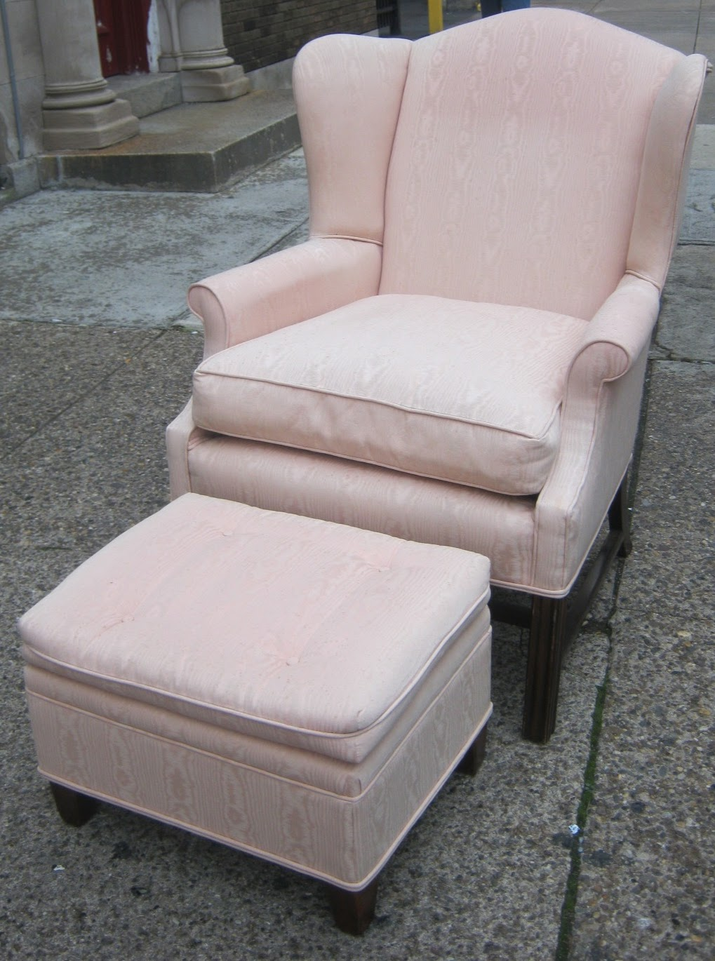 Pale Pink Wingback Chair And Ottoman Sold