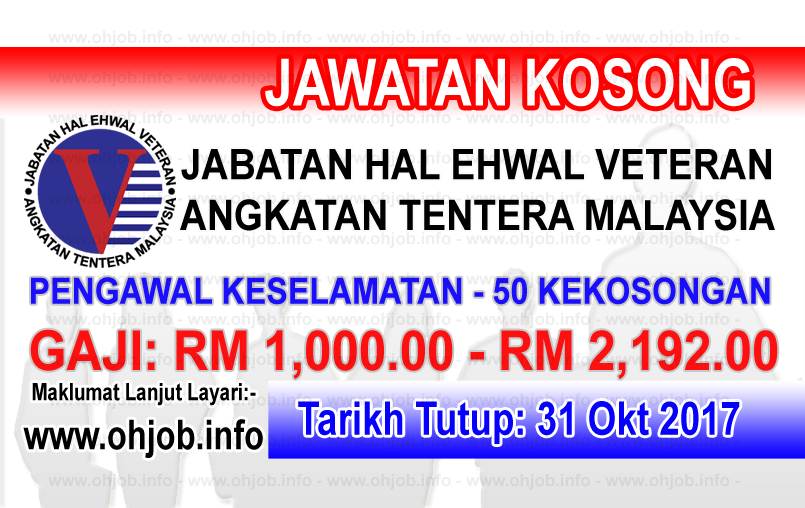 Jawatan Kosong Jabatan Hal Ehwal Veteran - JHEV (30 Oktober 2017)