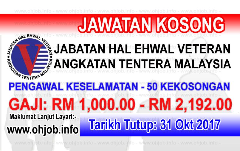 Jawatan Kerja Kosong Jabatan Hal Ehwal Veteran - JHEV logo www.ohjob.info ogos 2017