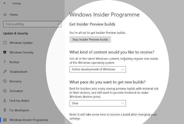 windows insider programme menu