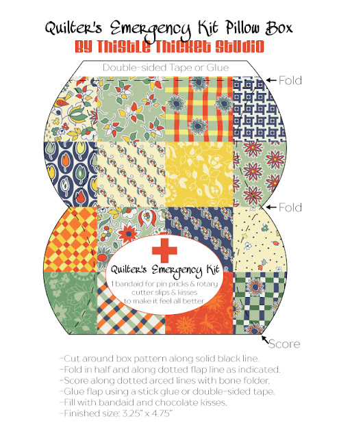 Quilter's Emergenc Kit Pillow Box Printable by Thistle Thicket Studio. www.thistlethicketstudio.com