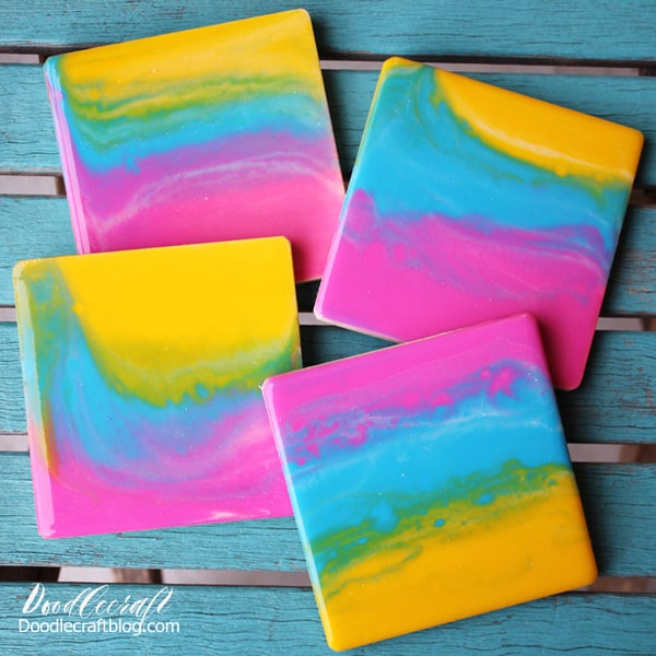 Resin poured sunset rainbow coasters diy