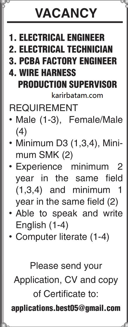 Lowongan Kerja Engineer dan technician (Lulusan D3 dan SMK) di Batam