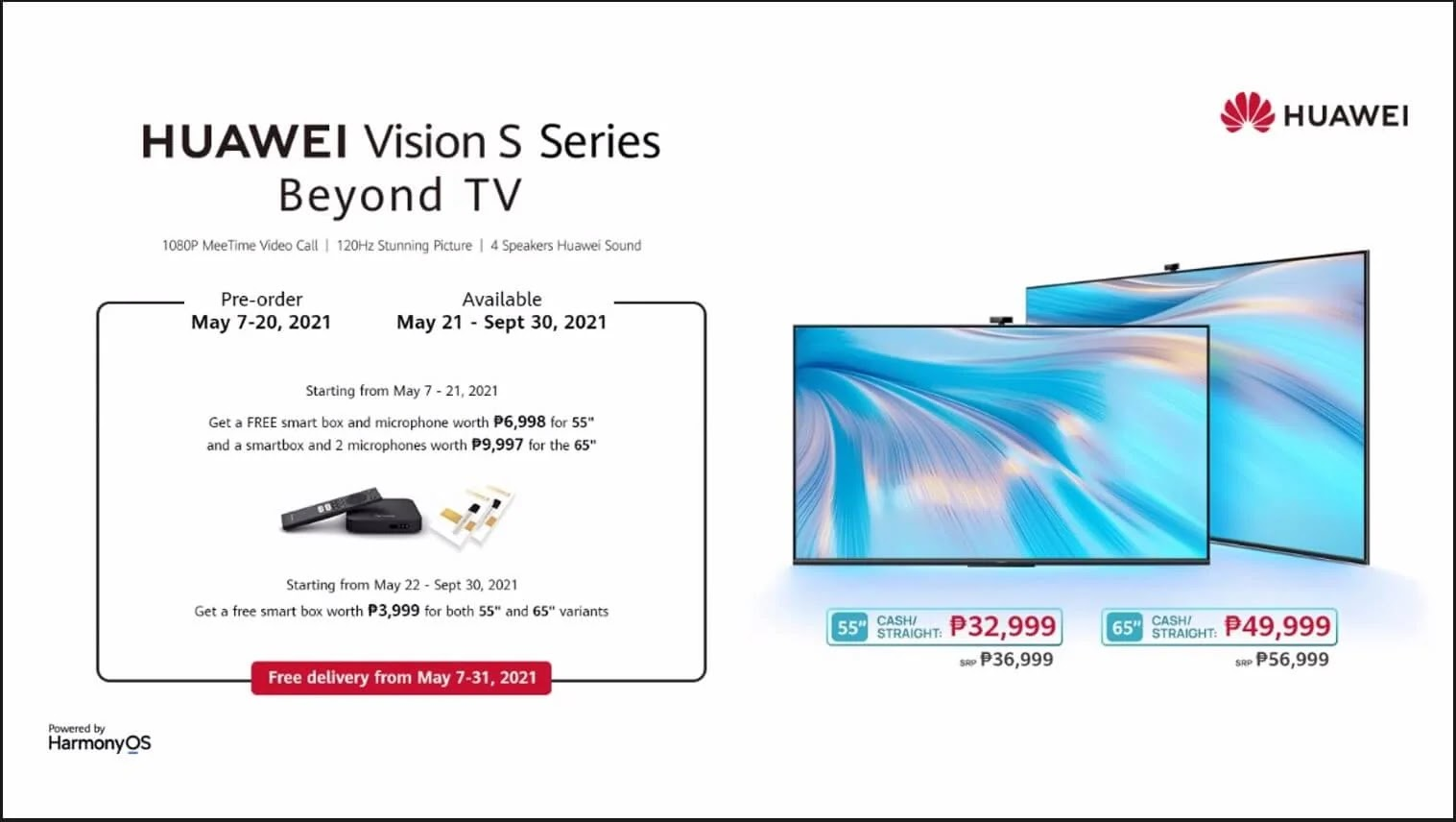 HUAWEI Vision S Smart TV Now in the Philippines; 4K 120Hz with HarmonyOS for as low as Php32,999