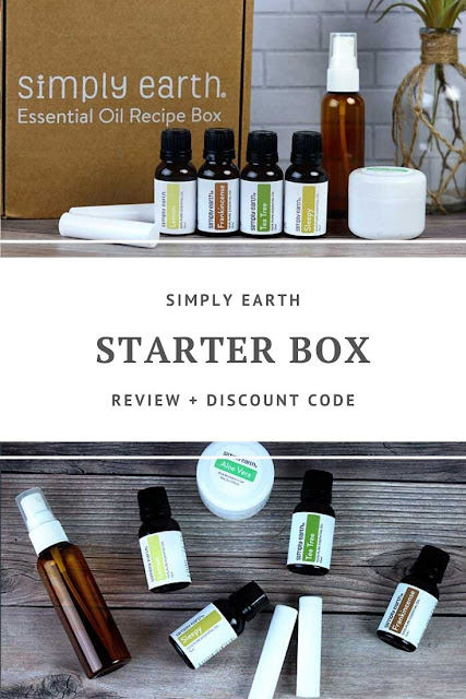 Read a review for the Simply Earth Starter Box. It's a monthly subscription box for essential oils for beginners and advanced users. You'll learn how to use oils in aromatherapy, rollers, bath products, and other recipes with the kit. The box has tea tree, frankincense, lemon, and a sleepy blend. They have tutorials and tips to make DIY products at home. Learn how to make 6 different recipes for a natural home. #essentialoils #diy