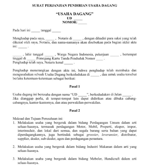 Contoh Surat Perjanjian Akta Pendirian Perseroan Terbatas Format Word