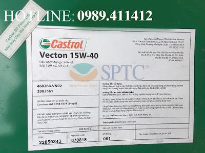 Tiêu chuẩn kỹ thuật của Dầu nhớt động cơ Castrol Vecton 15W40