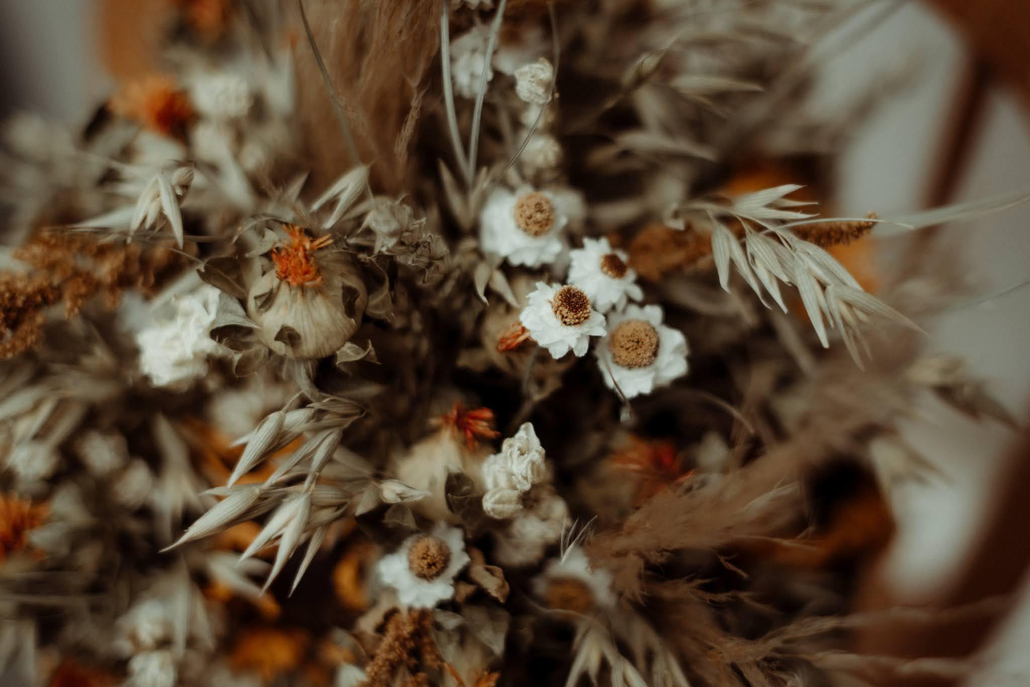 dried wedding flowers bouquet scottish elopement liquid grain