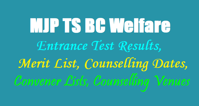 MJP TS BC Welfare 6th, 7th Class Entrance test Results, Merit list, Counselling dates, Convener Lists, Counselling Venues