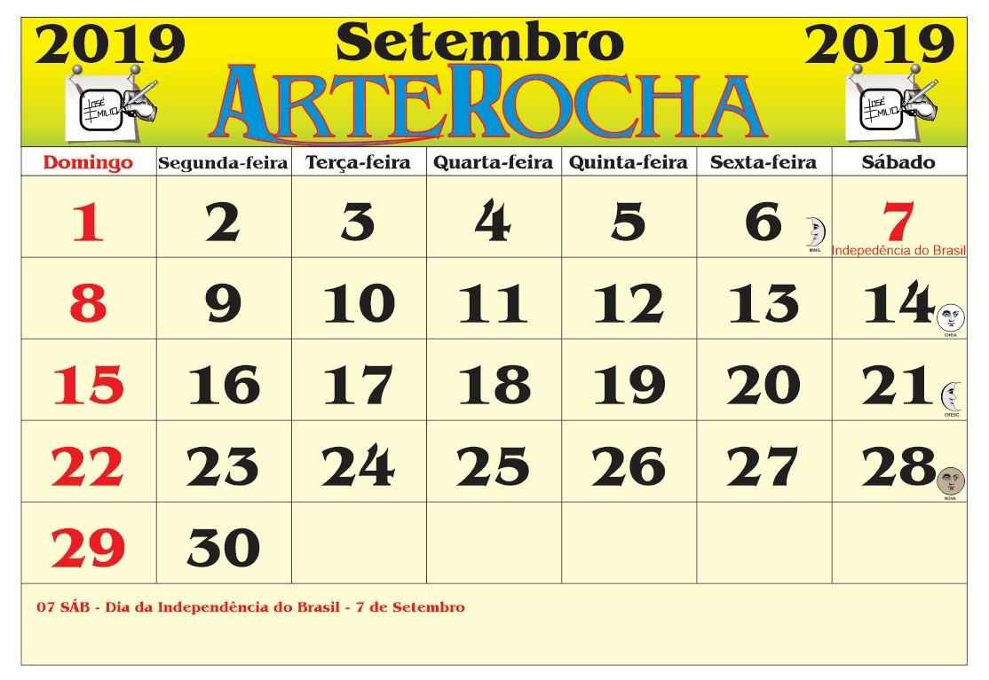Resultado de imagem para calendario arterocha setembro 2019