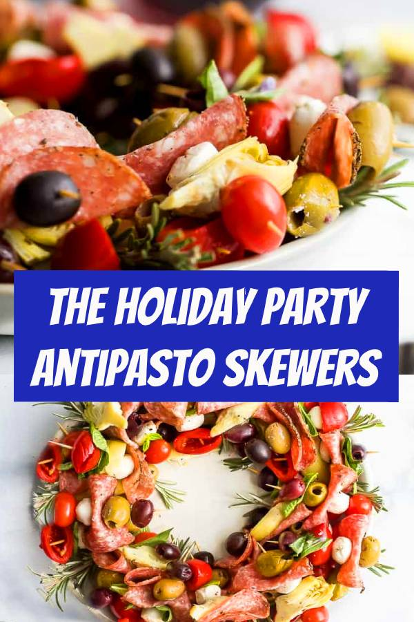 This Festive Antipasto Skewers is an amazing Holiday appetizer idea! Made with peppered salami, mozzarella balls, olives, cherry peppers, artichokes and fresh basil. An easy and healthy appetizer that's perfect for the holidays. #partyfood #holidayrecipes #holiday #appetizer #antipasto #skewers