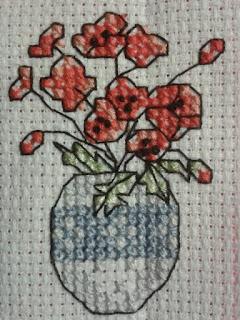 Cross stitch Poppy Vase