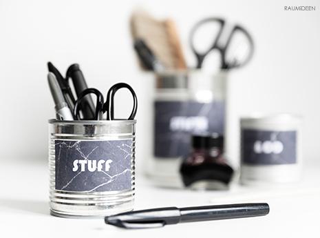 DIY - Etiketten für Stifteköcher aus Konservendosen  (mit Druckvorlage)