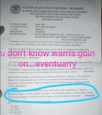 Naira Marley's case with EFCC turned into an examination question for Lagos State Polytechnic students