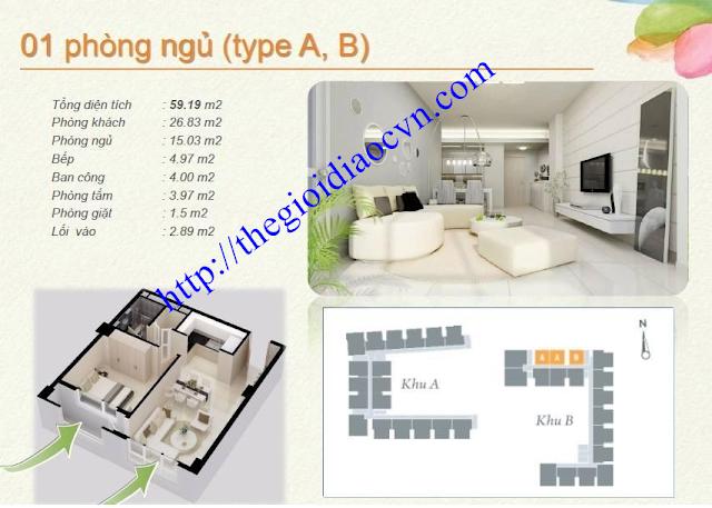 Mẫu thiết kế 1 phòng ngủ của căn hộ The Eastern