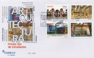 sobre, PDC, sellos, arquitectura, museo, Mérida, León, Sevilla, Madrid