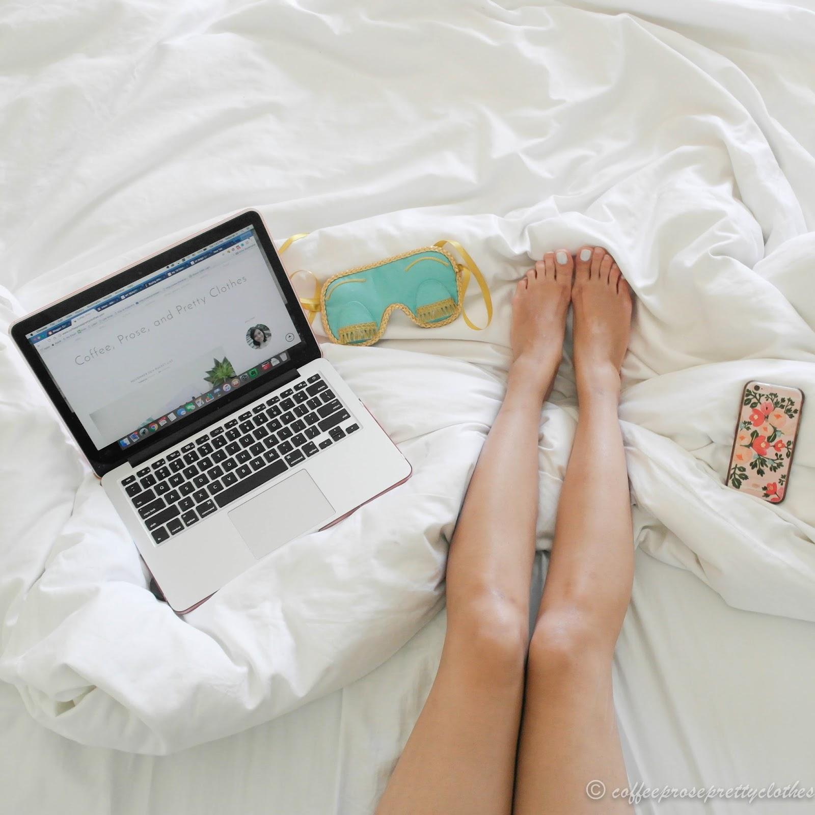 self-care, macbook, bed
