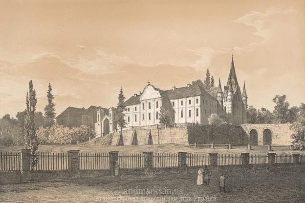 Літографія з альбому Наполеона Орди Новомалинського замку Nowomalin na Ukrainie - Pałac Oskara Sosnowskiego