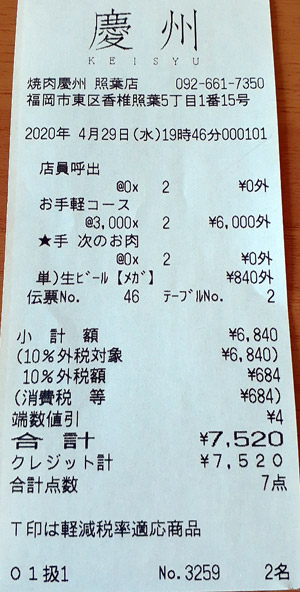 焼肉慶州 照葉店 2020/4/29 飲食のレシート