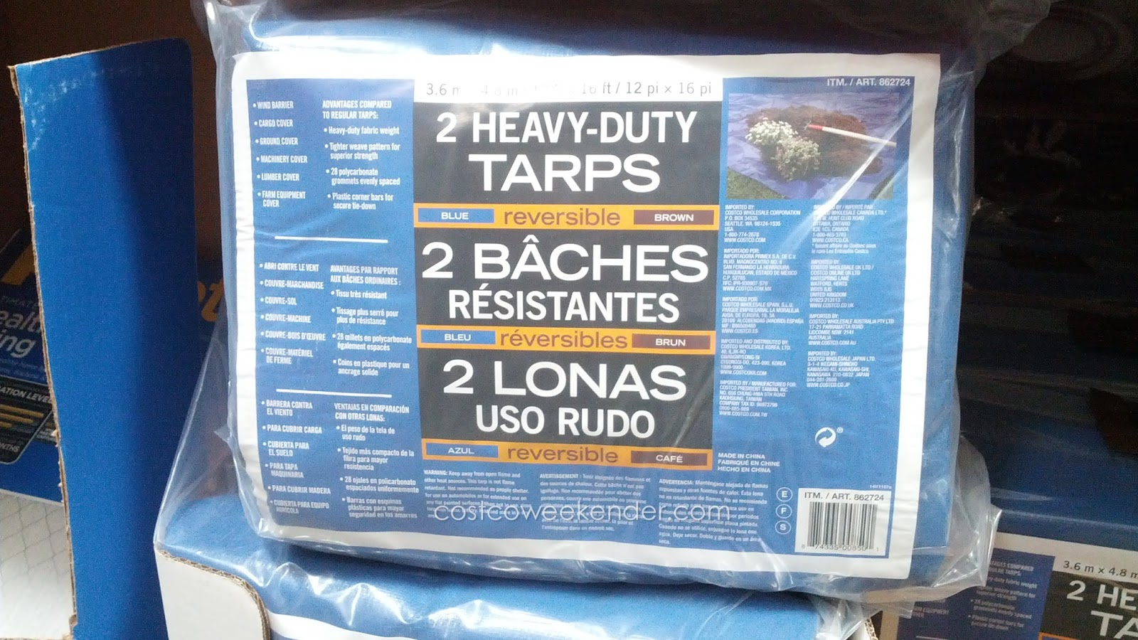 Heavy Duty Reversible Tarp Blue Brown 2 Pack Costco