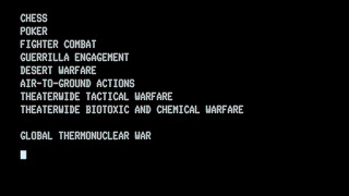 Lista de juegos del WOPR en Juegos de guerra